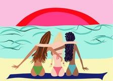 Tres mujeres el vacaciones fotografía de archivo