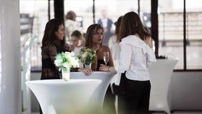 Tres mujeres hermosas están teniendo conversación alrededor de la tabla en el restaurante almacen de metraje de vídeo