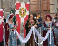 Tres mujeres medievales Imagen de archivo