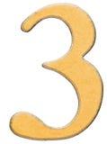 3, tres, número de la madera combinaron con el parte movible amarillo, aislado Imágenes de archivo libres de regalías