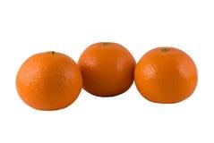 Tres naranjas maduras en un fondo blanco Foto de archivo libre de regalías