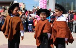 Tres niños andinos Imagen de archivo