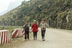 Tres niños de la minoría étnica Foto de archivo
