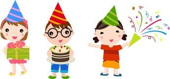 Tres niños en la fiesta de cumpleaños ilustración del vector