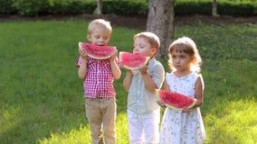 Tres niños felices alegres comen la sandía en verano en el parque almacen de metraje de vídeo