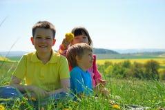 Tres niños felices en prado Imagen de archivo libre de regalías