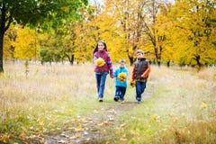Tres niños que caminan en parque del otoño Imagen de archivo
