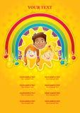 Tres niños felices en un arco iris y el sol Fotografía de archivo libre de regalías