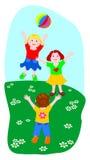 Tres niños mientras que juega la bola Imágenes de archivo libres de regalías