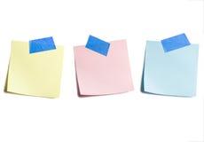Tres notas pegajosas Imágenes de archivo libres de regalías