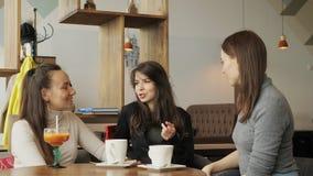 Tres novias de las mujeres en un café son que hablan y de consumiciones de sus bebidas almacen de metraje de vídeo