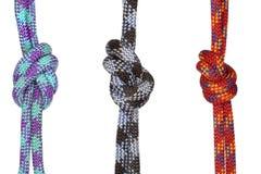 Tres nudos fuertes en cuerdas Imagen de archivo libre de regalías