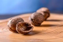 Tres nueces enteras maduras en cáscara, una mitad de la nuez Imagen de archivo