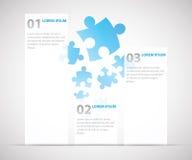 Tres opciones infographic con los pedazos del rompecabezas en vagos libre illustration