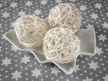 Tres ornamentos de la bola de la Navidad Foto de archivo libre de regalías