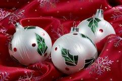 Tres ornamentos de la Navidad Fotografía de archivo libre de regalías