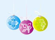 Tres ornamentos de la Navidad Foto de archivo libre de regalías