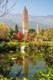 Tres pagodas en Dali, China Imagen de archivo libre de regalías