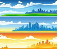 Tres paisajes fijados stock de ilustración