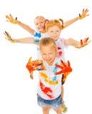 Tres palmas pintadas demostración de las muchachas Imagenes de archivo