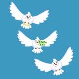 Tres palomas blancas Imágenes de archivo libres de regalías
