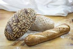 Tres panes de pan Fotos de archivo libres de regalías