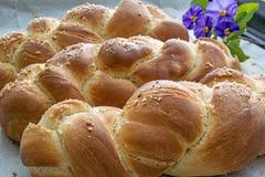 Tres panes de pan del jalá Fotografía de archivo