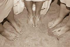 Tres pares de pies Foto de archivo libre de regalías