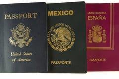 Tres pasaportes Fotografía de archivo libre de regalías