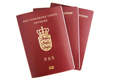 Tres pasaportes daneses Fotos de archivo libres de regalías