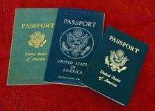 Tres pasaportes de los E.E.U.U. Fotos de archivo
