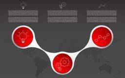 Tres pasos modernos infographic Infographics con los iconos del esquema Fotografía de archivo