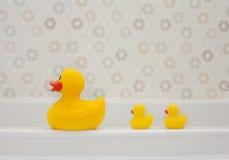 Tres patos de goma Imagen de archivo libre de regalías