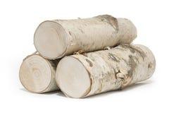 Tres pedazos de madera de abedul en el fondo blanco Fotografía de archivo libre de regalías