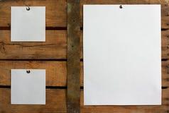 Tres pedazos de papel en blanco foto de archivo libre de regalías