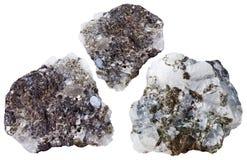 Tres pedazos de piedra del mineral de la esfalerita Imágenes de archivo libres de regalías