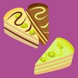 Tres pedazos de torta Foto de archivo libre de regalías