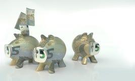 Tres pequeñas huchas con cinco euros ilustración del vector
