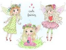 Tres pequeñas muchachas lindas hermosas de las hadas con la mariposa se van volando Ilustración del vector ilustración del vector