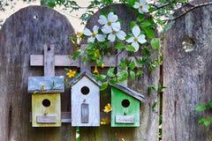 Tres pequeños birdhouses lindos en la cerca de madera con las flores Fotos de archivo libres de regalías