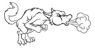 Tres pequeños cerdos mún Wolf Blowing grande Foto de archivo libre de regalías