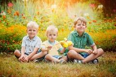 Tres pequeños hermanos que se sientan en hierba en día de verano soleado imagen de archivo