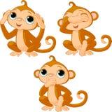 Tres pequeños monos Foto de archivo libre de regalías