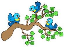Tres pequeños pájaros que se sientan en la ramificación stock de ilustración