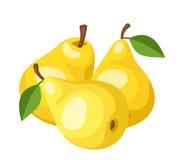 Tres peras amarillas. ilustración del vector