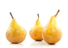 Tres peras amarillas jugosas Foto de archivo libre de regalías
