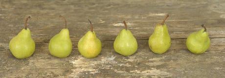 Tres peras en una fila Imagen de archivo libre de regalías