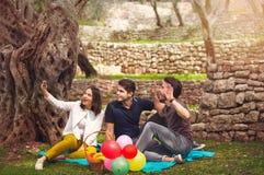 Tres personas jovenes hacen selfi debajo del olivo Fotografía de archivo libre de regalías