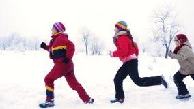 Tres personas que corren junto en paisaje del invierno almacen de metraje de vídeo