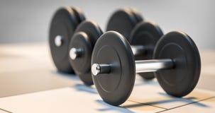 Tres pesas de gimnasia que se colocan en el ejemplo de la fila 3d Fotografía de archivo